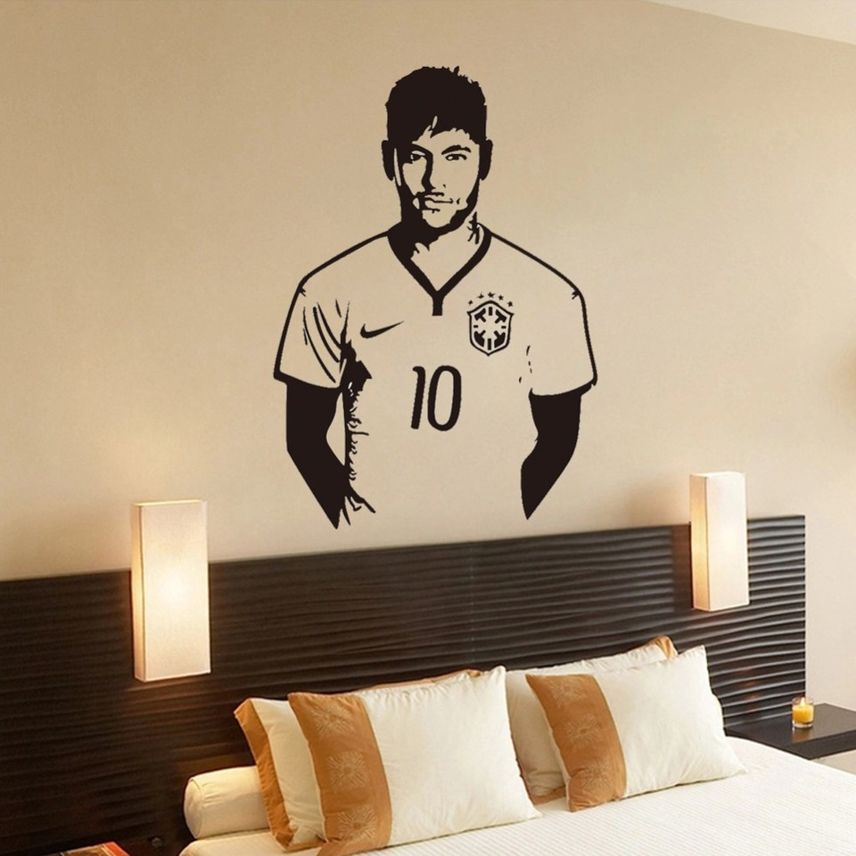 US $11 67 OFF Neymar Junior Soccer Wall Sticker Sports Football Player Wall Decal For Boys Room Decor Barcelona Poster Barca Wallpaper Wall
