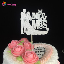 24pcs/pack Wedding Decoration Paper Glitter Cake Topper Mr&Mrs Groom And Bride Cupcake Topper For Wedding Party Favors Supplies