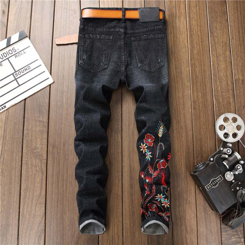 Newsosoo 2018 Casual Men Embroidery Straight Jeans Brand Flower Pattern Personality Male Fashion Denim Jeans Pants Black (9)