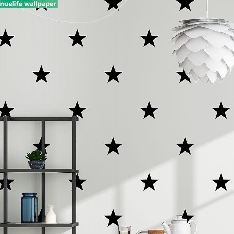 0.53x10m noir cinq branches étoile motif non-tissé mur enfants chambre maternelle salon chambre TV fond papier peint