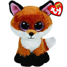 "Pyoopeo Ty Beanie Boos 6"" 15cm Slick Brown Fox Plush Regular Soft Big-eyed Stuffed Animal Collection Doll Toy with Heart Tag(China)"