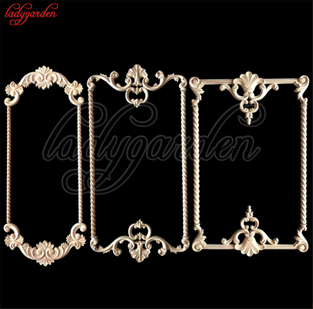 Woodcarving Corner Decal Wooden Applique Frame Wall Door Woodcarving Decal Wooden Figurines Home Decoration Furniture Appliques