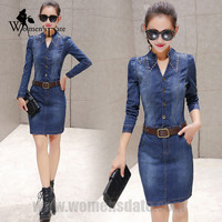 WomensDate 2016 New Autumu Fashion Denim Dress Female Korean Long Sleeved Slim Was Thin Package Hip