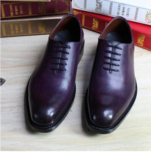 Goodyear Welted Shoes Cow Leather Boss Mens Purple Dress Shoes Italian Men Suit Shoes Grooms Wedding