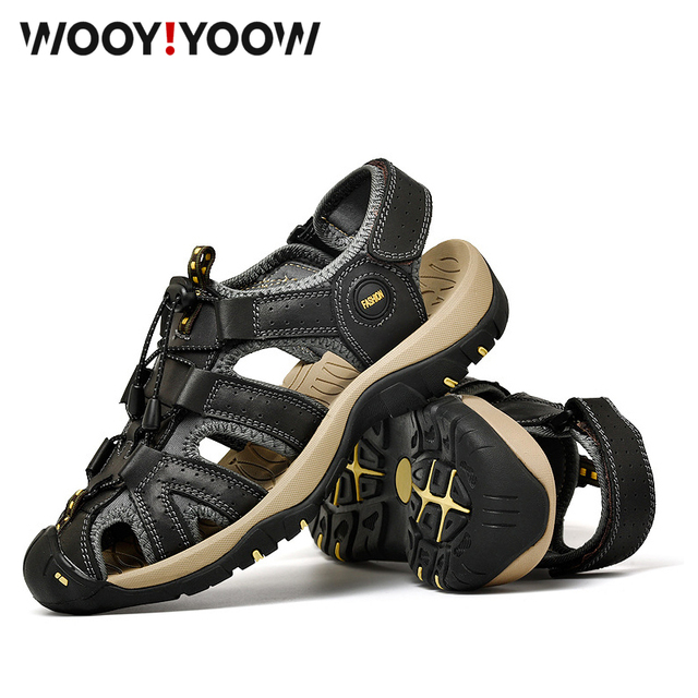 WOOY! YOOW 2019 New Leather Sandals Men's Leather Suede Leather Beach Shoes Men's Casual Sandals Slippers Comfortable Wearab