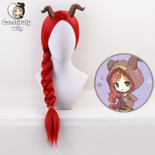 75cm Anime Identity V Long Red Braiding Hair Ponytail Wig Cosplay Costume Synthetic Wigs For Women High Temperature Fiber стоимость