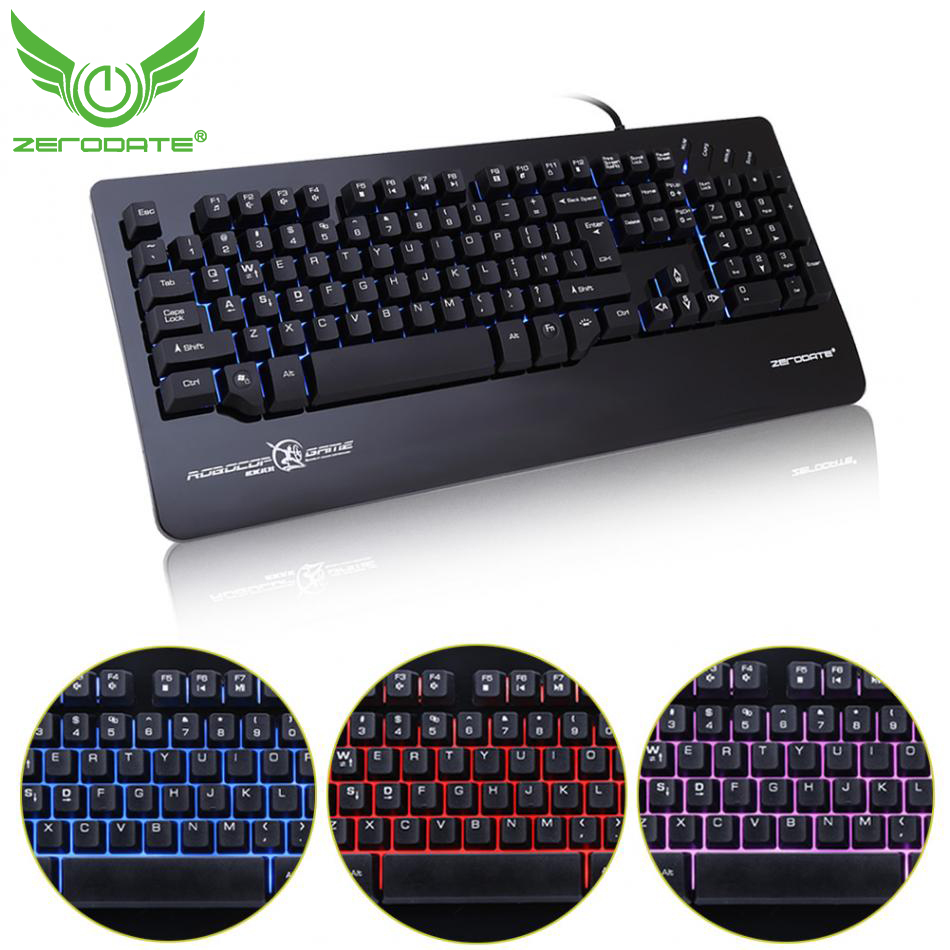ZERODATE X12 3 Colors Glow LED Backlit USB Wired Gaming Keyboard Ergonomic Design