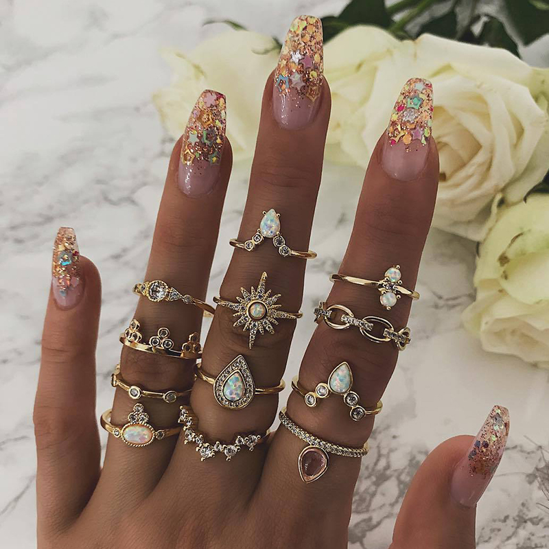 12 Pcs/ Set Bohemian Star Water Drops Crown Round Gem Geometry Crystal Gold Joint Ring Set Women Personality Jewelry Gift-in Rings from Jewelry & Accessories on Aliexpress.com | Alibaba Group