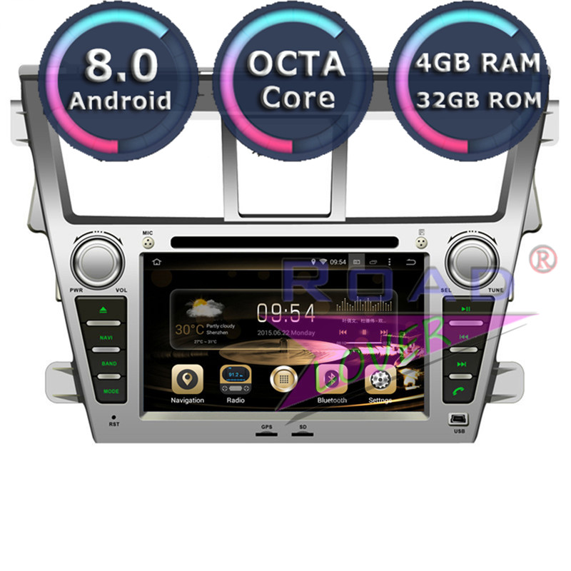 Roadlover Android 8.0 Car Multimedia DVD Player Autoradio For Toyota Vios 2007- Stereo GPS Navigation Magnitol Two Din Octa Core