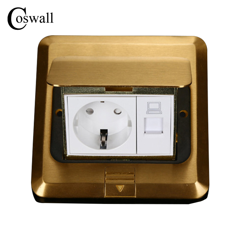All Copper Gold Panel EU Standard Power Pop Up Floor Socket Electrical Outlet With Internet Jack
