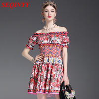 Sweet Pleated Mini Dress Female Spring Summer 2017 Long Sleeve High End Princess Red Floral Print