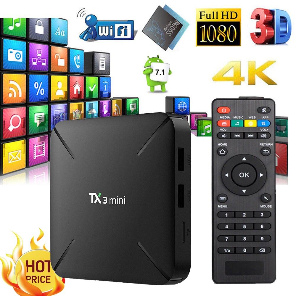 TX3 Mini Astuto di Android 7.1 TV Box 1G/2G di RAM 16G ROM Amlogic S905W 4 K media Player 2.4 GHz WiFi Set top box