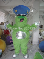 export high quality green long fur monster mascot costumes blue hat