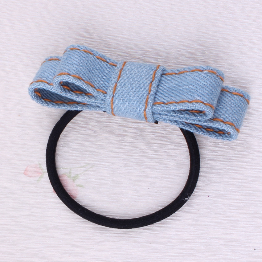 Two Layers Solid Color Denim Bow Elastic Hair Band for Girls High Quality Denim Hair Accessories Denim Bow Hair Tie