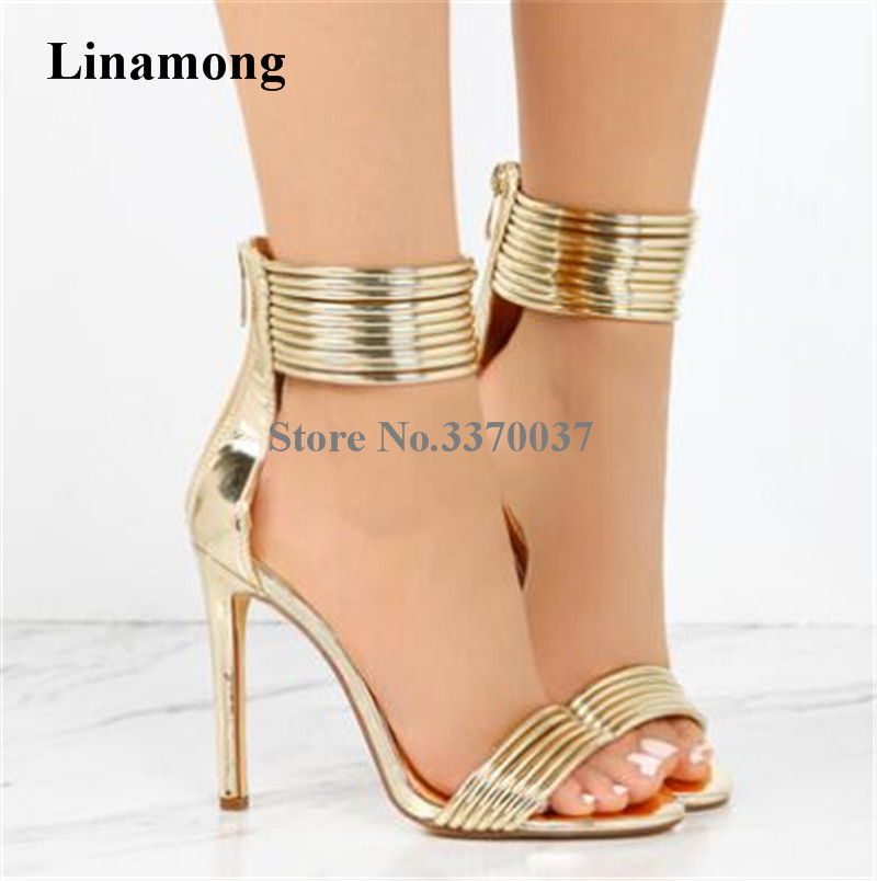 Women Summer New Fashion Open Toe Gold Black Nude Patent Leather Sandals Cut-out Ankle Straps High Heel Sandals Dress Shoes цены