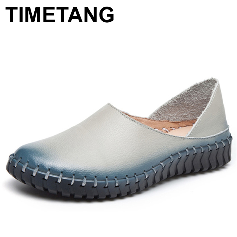 TIMETANG Women Flats Shoes Genuine Leather Solid Slip On Casual Flat Shoes Woman Cow Leather Loafers For Ladies E131 new vintage genuine cow leather women flats fashion round toe slip on women leather loafers ladies casual flat shoes size 35 43
