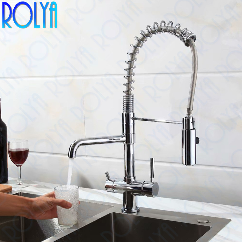 Rolya New Tri Flow Kitchen Faucet Swivel with Sprayer Hose Gooseneck Pull Down Sink Mixer Brass