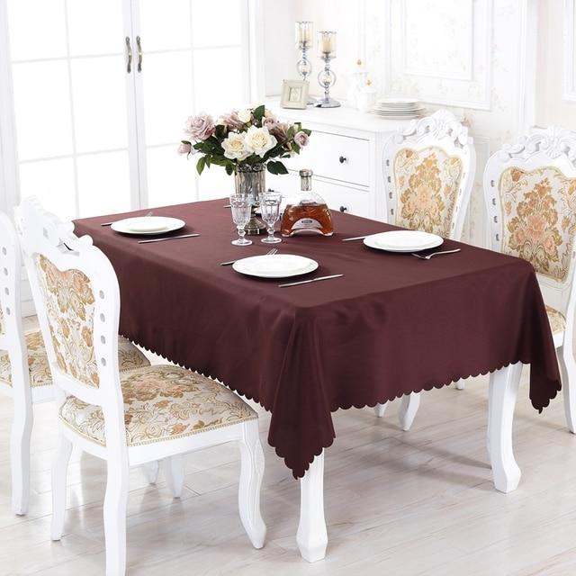 Eureapen estilo redondo sólido poliéster rectángulo mantel en mesa ...