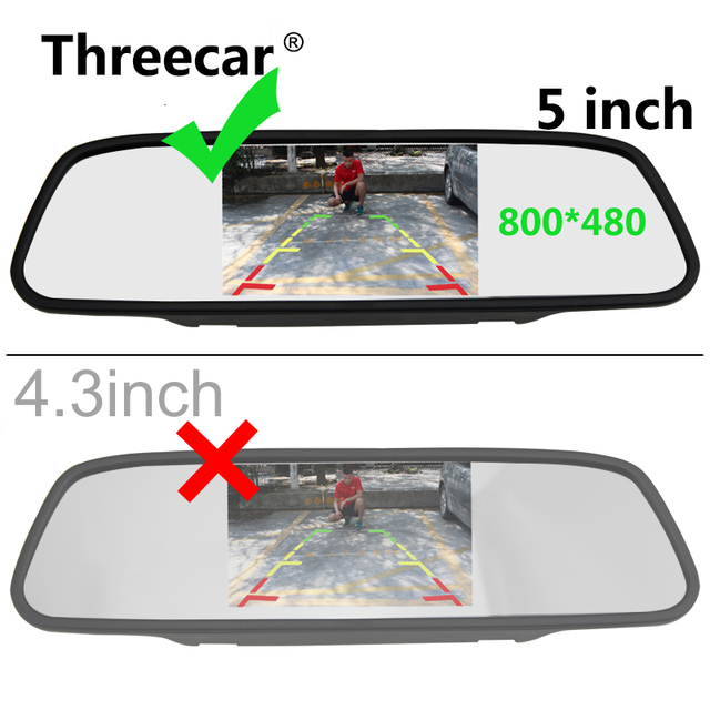 5 Inch HD Rear View Car Interior Mirror Monitor 2CH Video Input High Resolution 800*480 DC 12V Angle Car Rearview Mirror Monitor