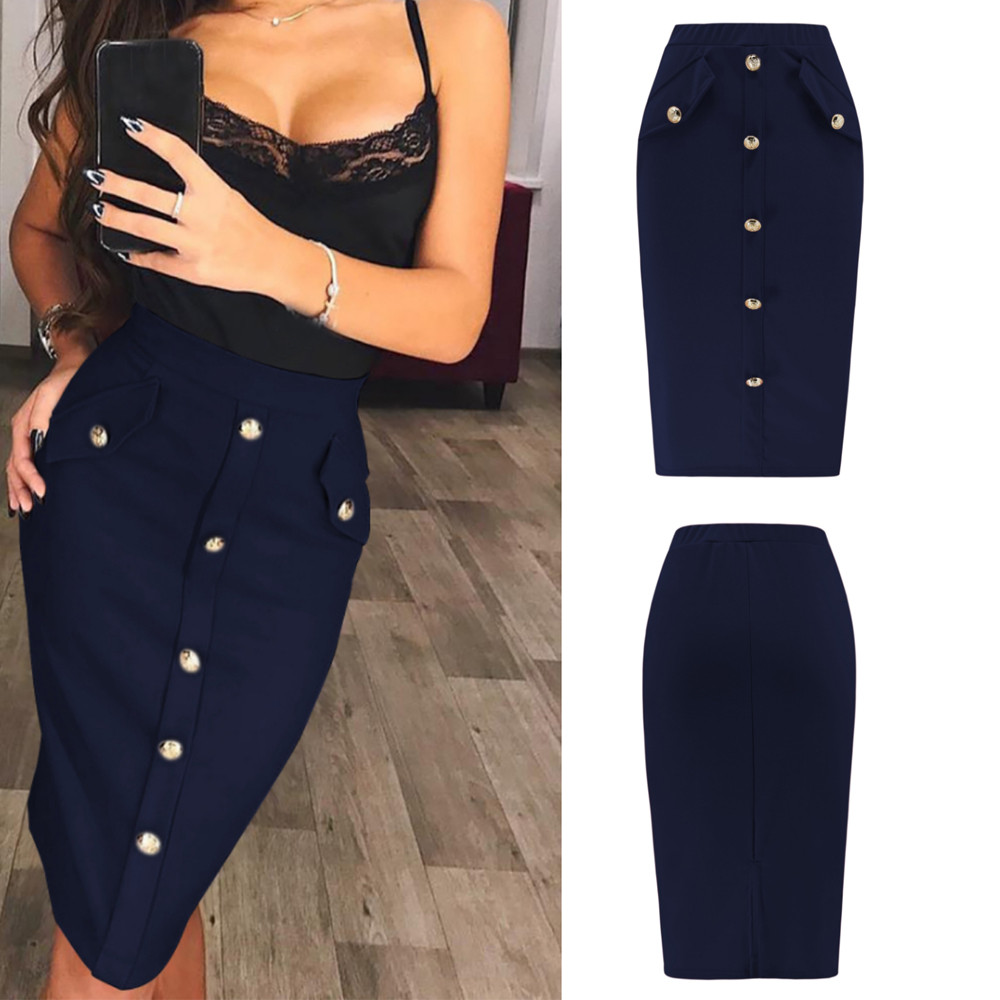 Solid Button Front Pocket Slim Long Skirt Women Summer Elegant Office Lady Bodycon Workwear Skirts High Waist Pencil Skirt 14