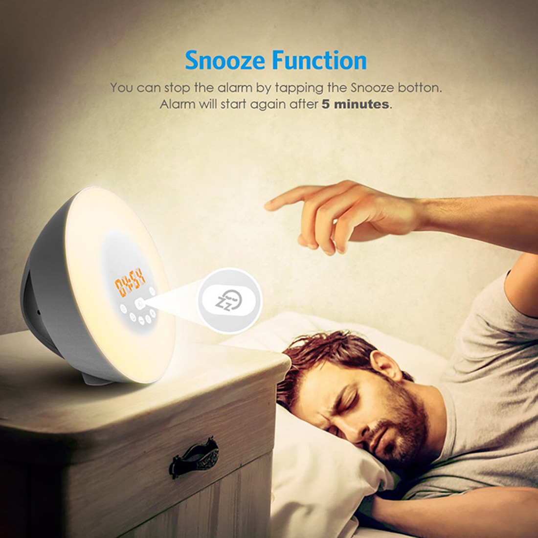 Chargeable Touch Sensing Digital Alarm Clock Sunrise Sunset Discoloration Wake Up luminous LED Light Lamp With FM Radio ClockChargeable Touch Sensing Digital Alarm Clock Sunrise Sunset Discoloration Wake Up luminous LED Light Lamp With FM Radio Clock