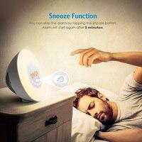Chargeable Touch Sensing Digital Alarm Clock Sunrise Sunset Discoloration Wake Up luminous LED Light Lamp With FM Radio Clock