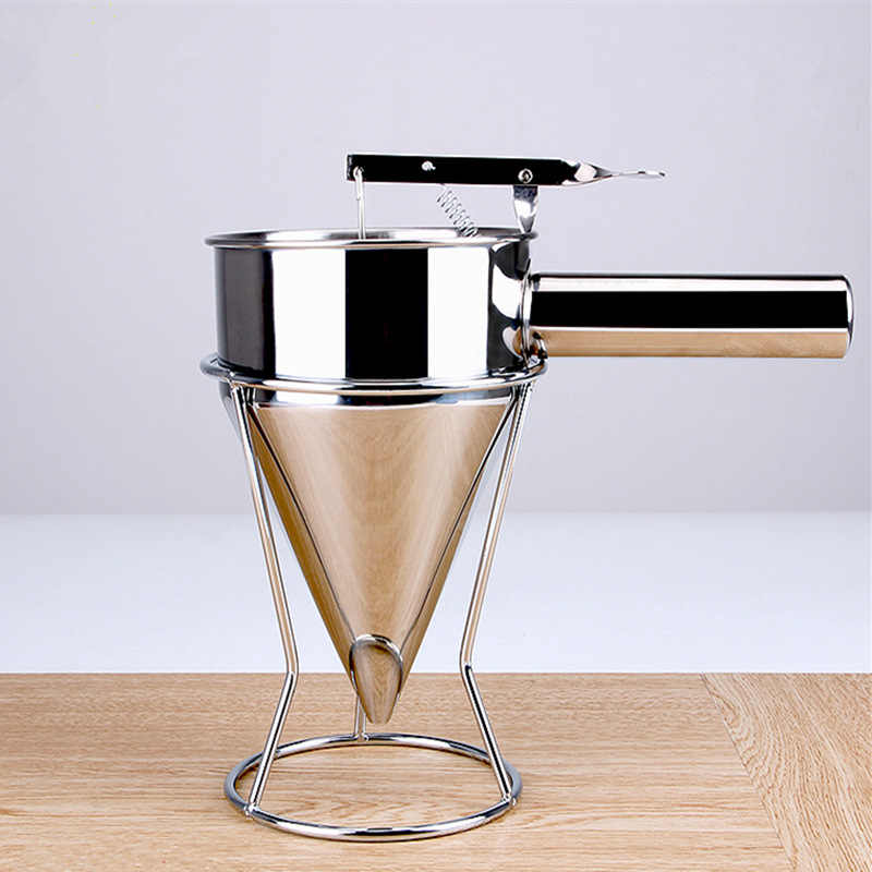 Baking Funnel Cake Desserts Cooking Tools for Home Kitchen Bakery Use Stainless Steel Funnel Octopus Balls Tools With Rack
