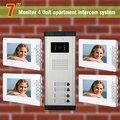 2016 Новый 4 единицы квартира домофон видео-дверной звонок домофон для квартиры видео-телефон двери главная домофон