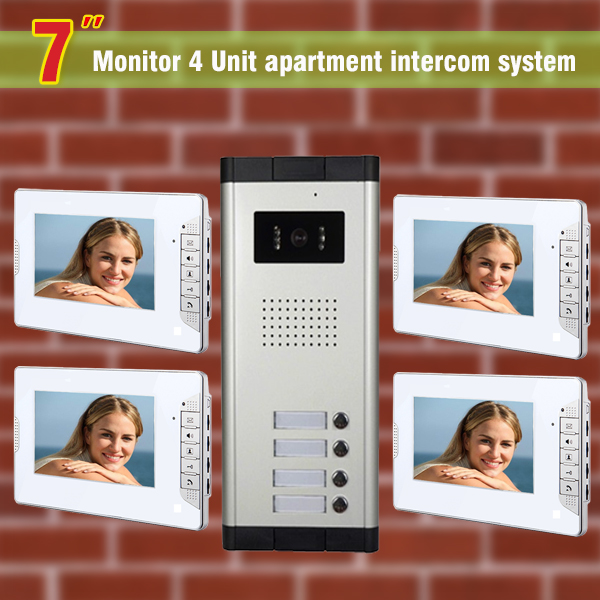 4 units apartment intercom system video doorbell intercom Kit  for apartment visual intercom video door phone system my apartment