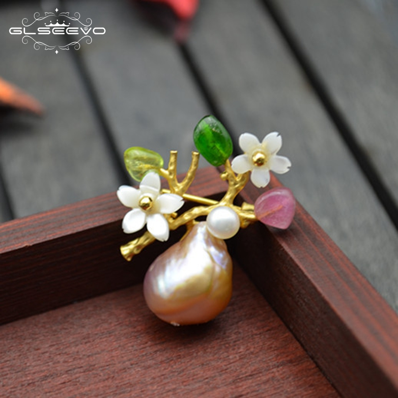 GLSEEVO Natural Colorful Tourmaline Baroque Pearl Brooch Pin Shell Flower Brooches For Women Dual Use Luxury