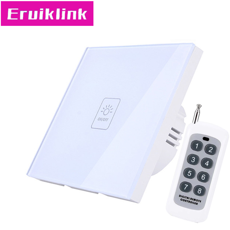 EU/UK Standard Wireless Touch Remote Control Switch,1 Gang 1 Way <font><b>RF433</b></font> <font><b>Wall</b></font> Light Switch For Smart House Free shipping image