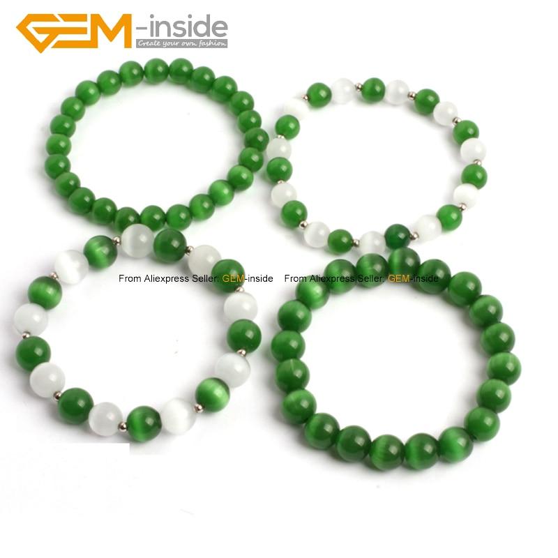 Rope Bracelets Dark Green Cat Eye Glass Beads Bracelets Fashion Jewelry For Woman 7.5inch FreeShipping Wholesale Gem-inside