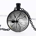 Steampunk Spider Necklace Gothic Spider Web Pendant Glass Cabochon Jewelry Gift for Boyfriend