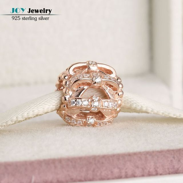 2016 Autumn Rose Gold Plated Shimmering Sentiments CZ Bow Knots Openwork Charm Beads For Jewelry Making Fit Women Bracelet Diy