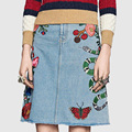 2016 Autumn Original Women Skirt Embroidery Flower Empire Denim Skirt Washed A-Line Skirt,WY1893