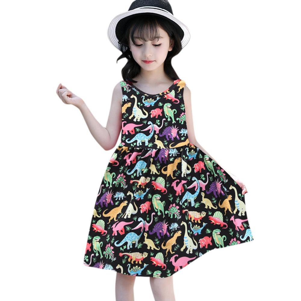 Kids Dress For Girls Fashion Girls Clothing Summer Toddler Baby Girl Sleeveless Cartoon Dinosaur Print Dress Dresses Clothes Home