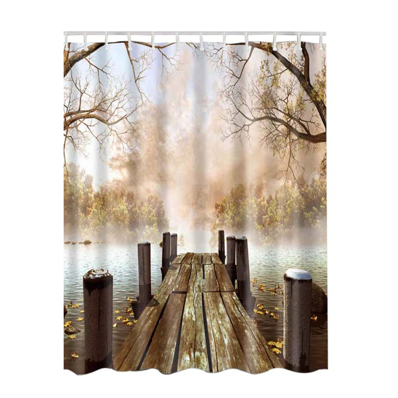 3D Curtain Bathroom Rustic Home Art Paintings Pictures Pattern Shower Waterproof Fabric Lake House