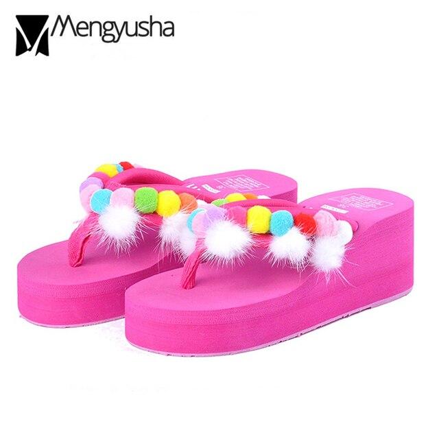 fa3fd572c88599 candy color fur ball flip flops women high heels sandals sweet girls pompom  wedges shoes woman platform sandalias slippers c282