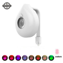 8 Colors Motion Sensor Toilet Light Battery For Any Toilet Bathroom Night Light Operated Backlight For Toilet Bowl Fit(China)