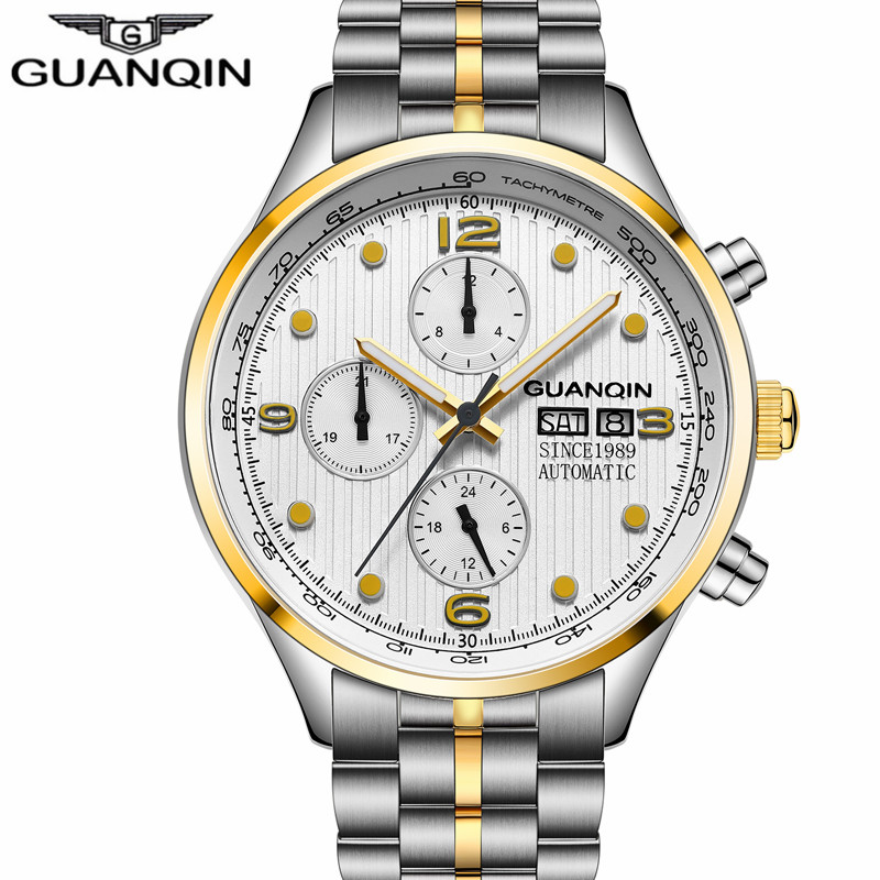 relogio masculino GUANQIN new Brand Luxury Men Automatic Date16100 Clock Men's Business Full Steel Waterproof Mechanical Watch A