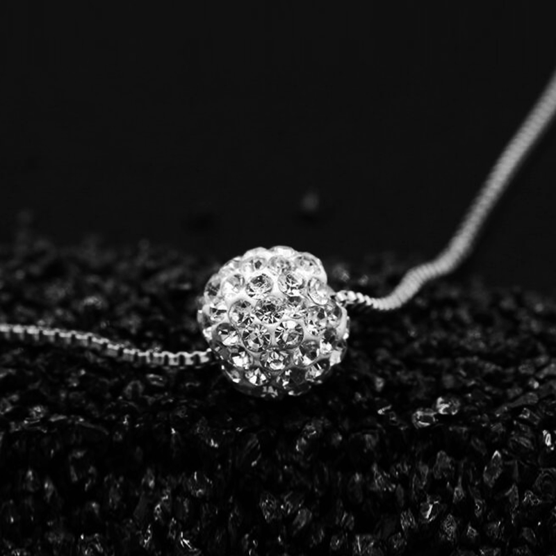 Charm Silver Plated Disco Ball Full Inset Crystal Pendant Necklaces for Women Fashion Je ...