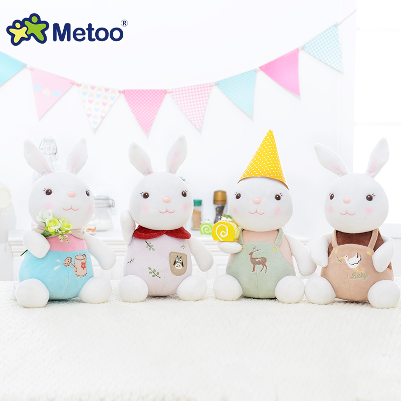 Metoo Rabbit Plush Doll Stuffed Toys For Baby Girls Boys Home Sofa Car Cute Lovely Decoration Children Sweet Birthday Gift metoo owl doll plush toys soft cloth dolls home decoration cute warm stuffed toy kids children birthday gift sofa car decor