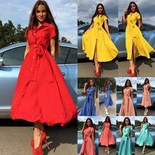 Fashion Women Summer Casual Shirt Dress Party Long Maxi