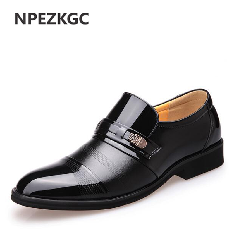 NPEZKGC Men Dress Shoes Slip-on Oxford Shoes For Men Flats Leather Fashion Men Shoes Breathable Comfortable Business shoes npezkgc men dress shoes slip on black oxford shoes for men flats leather fashion men shoes breathable comfortable zapatos hombre