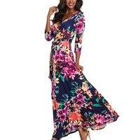 The Latest Fashion Cotton V neck Dress Women's Print Big Pendulum Dress in Navy Blue Sundresses Women Long Summer Sexy Dress