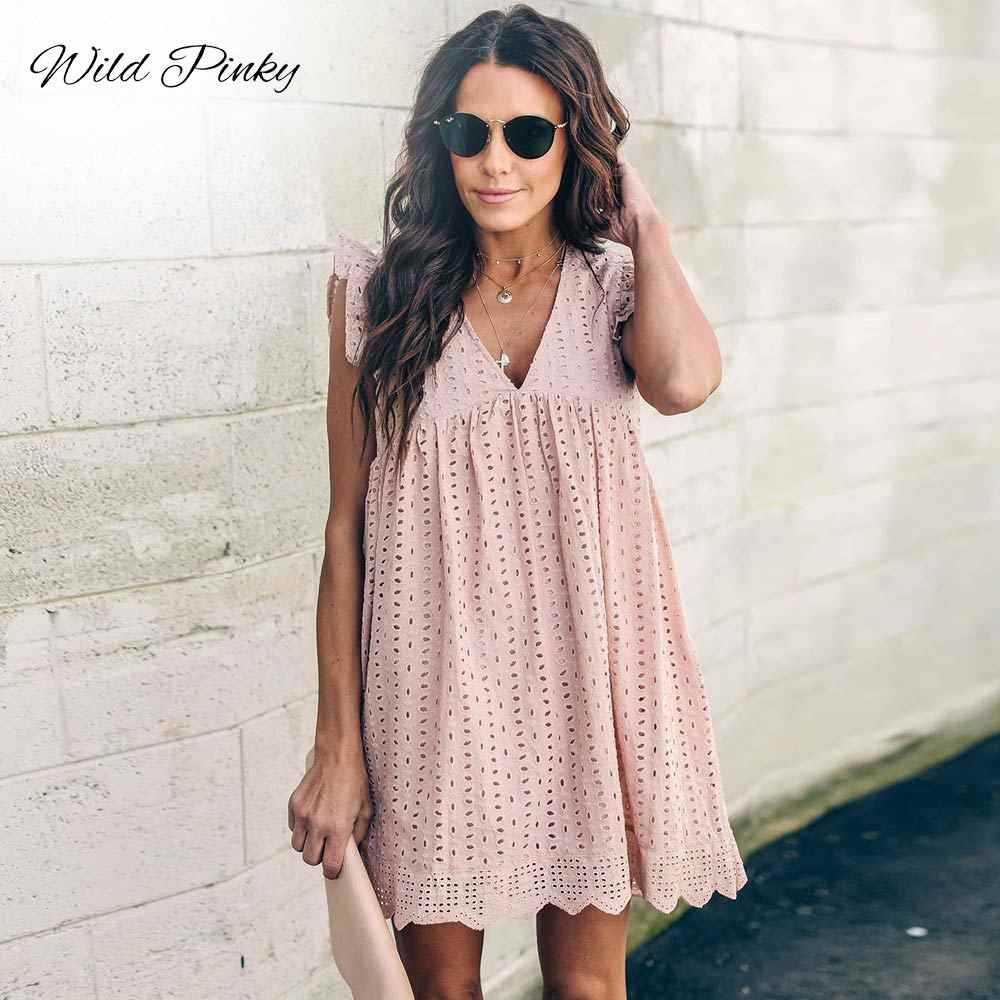 WildPinky Summer Women Lace Embroidery Sexy Dress Ruffle Sleeve Causal Pink Cotton Mini Dresses Hollow Out Short Dress Vestidos