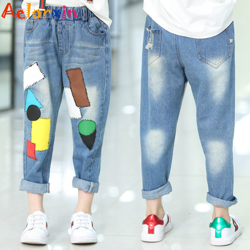 Girls Denim Pants Summer Children Jeans Pants Leggings Baby Patchwork - Children's Clothing - Photo 2