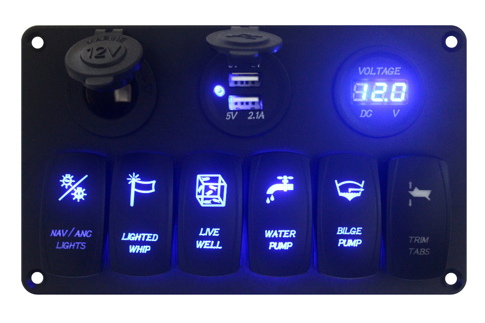 2017 Aluminum RV Car Boat LED 6 Gang Toggle Rocker Switch Panel USB Power Voltmeter Waterproof