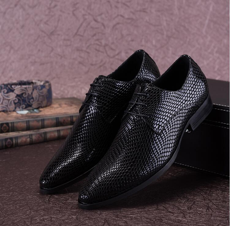 Dress shoes men genuine leather lace up snakeskin classical black pointed toes smart casual shoes fashion formal dress moccasins lace panel casual shift dress fashion