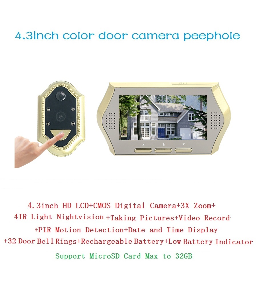 ФОТО 2017 wireless peephole camera 4.3 inch LCD 0.3M pixels camera IR Night vision 3X Zoom PIR Motion Detection door peephole camera
